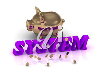 SYSTEM- inscription of green letters and gold Piggy on white background