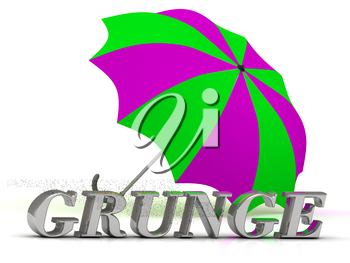 GRUNGE- inscription of silver letters and umbrella on white background