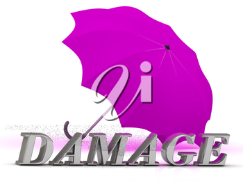 DAMAGE- inscription of silver letters and umbrella on white background