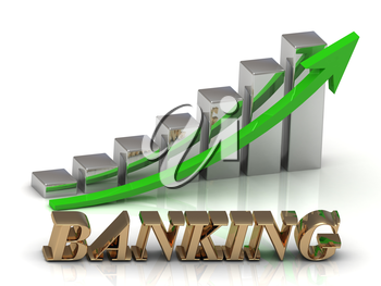 BANKING- inscription of gold letters and Graphic growth and gold arrows on white background