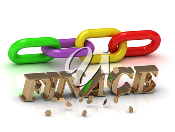 FINACE- inscription of bright letters and color chain on white background
