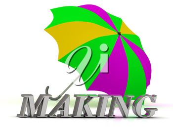 MAKING- inscription of silver letters and umbrella on white background