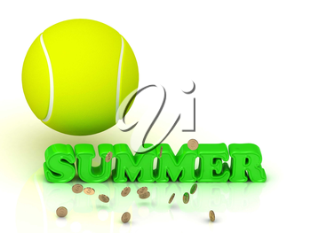 SUMMER- bright green letters, tennis ball, gold money on white background