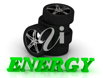 ENERGY- bright letters and rims mashine black wheels on a white background