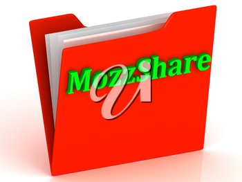 MozzShare- bright green letters on red paperwork folder witch paper list on a white background