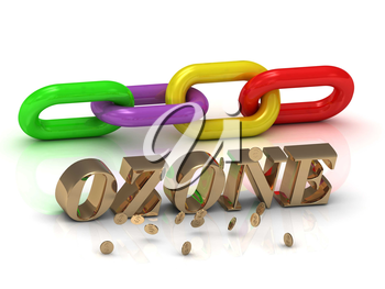 OZONE- inscription of bright letters and color chain on white background