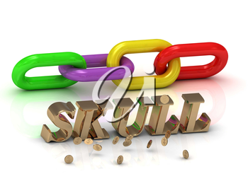 SKULL- inscription of bright letters and color chain on white background