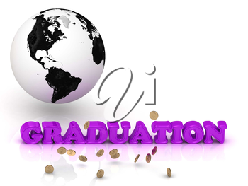 GRADUATION- bright color letters, black and white Earth on a white background