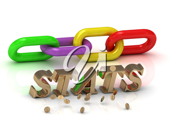 STATS- inscription of bright letters and color chain on white background