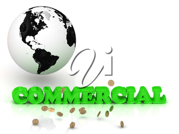 COMMERCIAL- bright color letters, black and white Earth on a white background