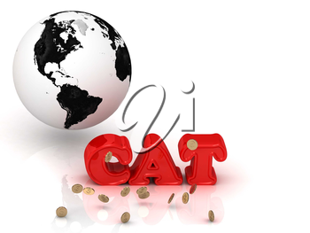 CAT bright color letters, black and white Earth on a white background