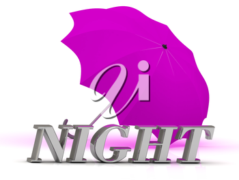 NIGHT- inscription of silver letters and umbrella on white background