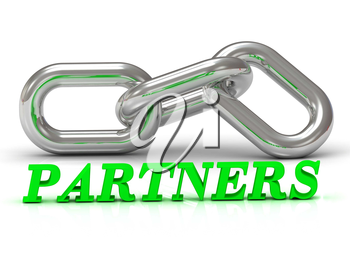 PARTNERS- inscription of color letters and Silver chain of the section on white background