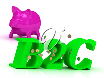 B2C bright of green letters and rose Piggy on white background