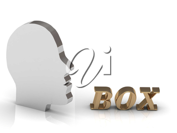 BOX bright color letters and silver head mind on a white background