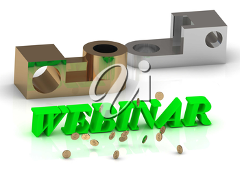 WEBINAR- words of color letters and silver details and bronze details on white background