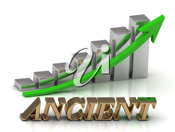ANCIENT- inscription of gold letters and Graphic growth and gold arrows on white background