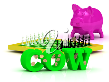COW bright word, money, pink piggy, yellow chess on white background
