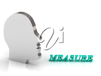 MEASURE bright color letters and silver head mind on a white background