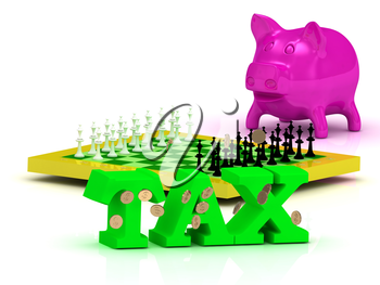 TAX bright word, money, pink piggy, yellow chess on white background