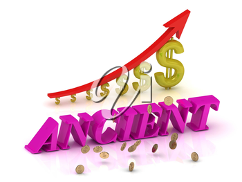 ANCIENT bright letters and graphic growing dollars and red arrow on a white background