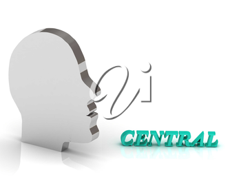 CENTRAL bright color letters and silver head mind on a white background