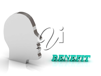 BENEFIT bright color letters and silver head mind on a white background