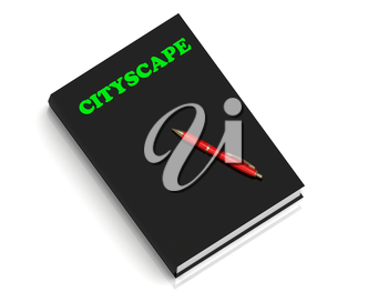 CITYSCAPE- inscription of green letters on black book on white background