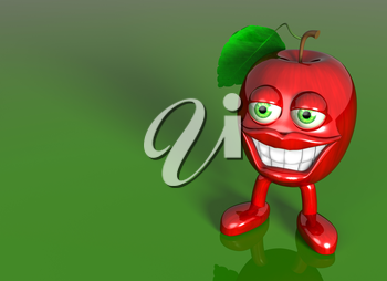 Royalty Free Clipart Image of an Apple with Eyes and Teeth