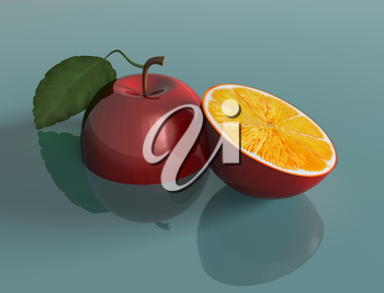 Royalty Free Clipart Image of an Apple and an Orange