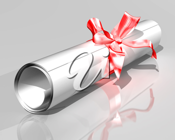 Royalty Free Clipart Image of a Certificate Rolled Up with a Ribbon