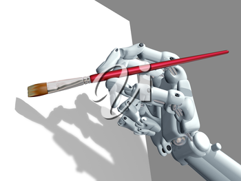 Royalty Free Clipart Image of a Robot Hand Holding a Paint Brush