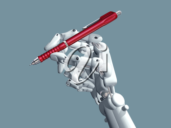 Royalty Free Clipart Image of a Robot Hand Holding a Pen