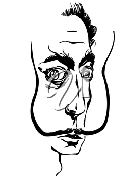 Royalty Free Clipart Image of a Drawing of Salvador Dali