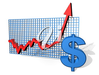 Royalty Free Clipart Image of a Dollar Sign Chart