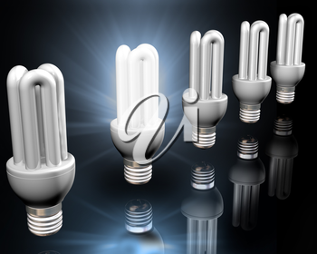 Royalty Free Clipart Image of Light Bulbs