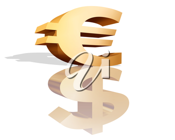 Royalty Free Clipart Image of a Euro and Dollar Sign
