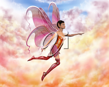 Royalty Free Clipart Image of a Flying Fairy