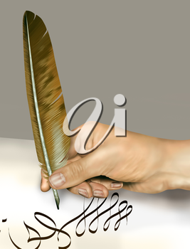 Royalty Free Clipart Image of a Feather Quill