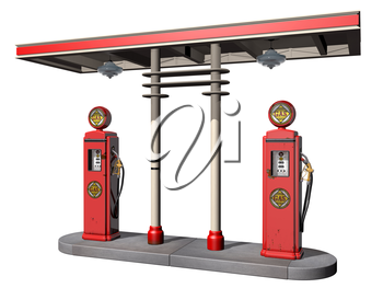 Royalty Free Clipart Image of Vintage Gas Pumps