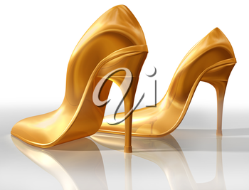 Royalty Free Clipart Image of a Pair of Gold High Heel Shoes
