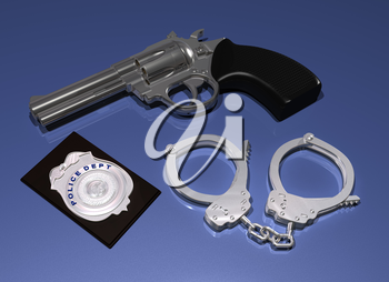 Royalty Free Clipart Image of a Gun, Badge and Handcuffs