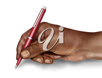 Royalty Free Clipart Image of a Hand Holding onto a Pen