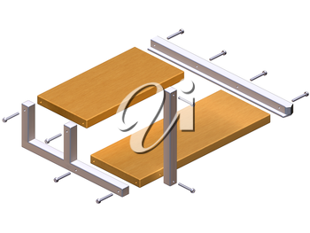 Royalty Free Clipart Image of a Shelving Unit