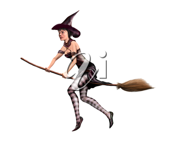 Royalty Free Clipart Image of a Witch Flying on a Broom