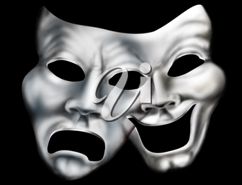 Royalty Free Clipart Image of a Theatre Masks