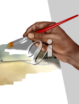 Royalty Free Clipart Image of an Artist Painting