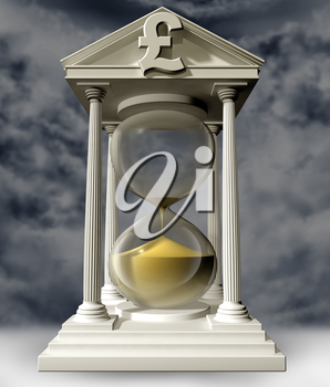 Royalty Free Clipart Image of an Hourglass with a Pound Sign