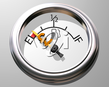 Royalty Free Clipart Image of a Fuel Gauge Low on Fuel with a Pound Sign