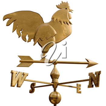 Royalty Free Clipart Image of a Rooster Weathervane